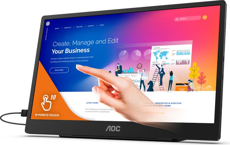 AOC lanserar nu en bärbar touchskärm